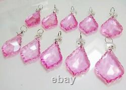 10 Chandelier Droplets Drops Vintage Wedding Pink Cut Glass Crystals Prism Beads