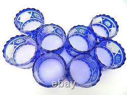 (12) Vintage Cut to Clear Cobalt Blue Glass Hand Made Crystal Napkin Rings