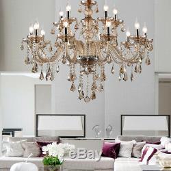 15 Arms K9 Crystal Cut Glass Large Cognac Chandelier Pendant Ceiling Light E12