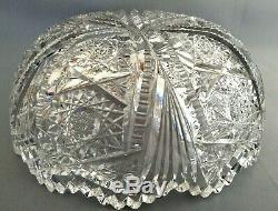 1900-16 AMERICAN BRILLIANT PERIOD CUT GLASS CRYSTAL BOWL 9 Art Nouveau Period