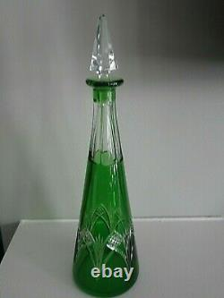 1920's-30 Cristal Nancy France Green Cut to Clear Crystal DECANTER MARKED