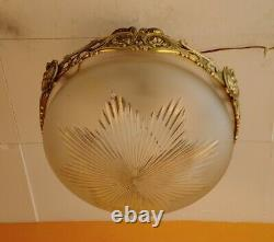 1930 French Art Deco Frosted Star cut Crystal shade Brass dragon Chandelier