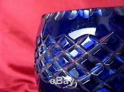 1930s ANTIQUE BOHEMIAN COBALT BLUE CRYSTAL POTASSIUM CUT GLASS ART VASE