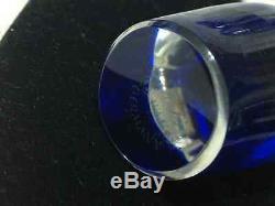 1983 Beautiful Franklin Crystal Ger Cut/Clear Cobalt Decanter & 6 Stem Glasses