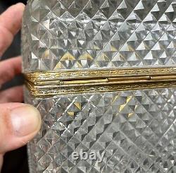 19th C French Cut Baccarat Crystal Glass Gilt Bronze Ormolu Casket Box