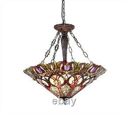 24 Inverted Victorian Pendant Hanging Ceiling Light Fixture Stained Cut Glass