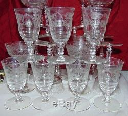 24 Libbey Rock Sharpe Crystal Cut 3005-7 Water Wine Champagne Juice Glasses