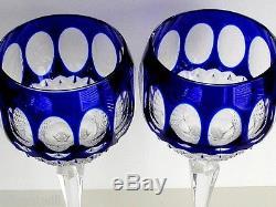 2 AJKA Corlis Edinbergh cobalt blue cased cut to clear Crystal Balloon Wine