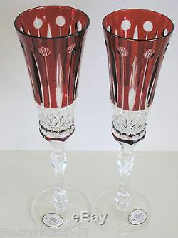 2 AJKA FABERGE XENIA ruby red cased cut to clear champagne flutes flute