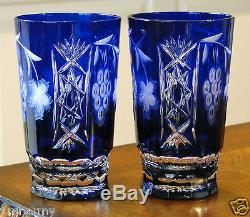 (2) AJKA MARSALA COBALT BLUE Cased Cut Crystal Highball, Water Beverage Glasses