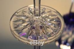 2 Ajka Castille Cobalt Blue Cased Cut to Clear Crystal Wine Balloon Goblets New