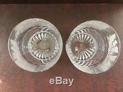2 Edinburgh Crystal Thistle Cut Large Old Fashioned Tumblers, Excellent