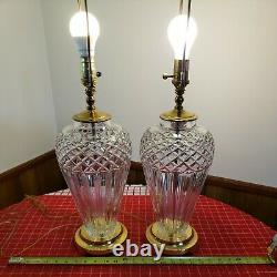 2 Large Waterford Belline Cut Crystal Electric Table Lamps Signed