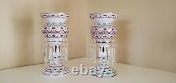 2 STUNNING BOHEMIAN CUT TO CRANBERRY CRYSTAL MANTLE LUSTERS WithPRISMS 13.5 WOW