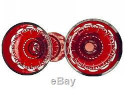 2 Stunning Antq Bohemian Cut Glass Mantle Lusters Lustres Candle Holders Prisms