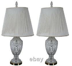 2 Vintage Waterford Cut Crystal & Brass 7575 Lismore Table Lamp Pair 30