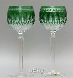 2 Waterford Crystalclarendon Cut To Clear Emerald Green Wine Hock Glasses