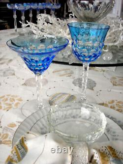 2 Waterford Simply Blue Azure Cased Cut To Clear Crystal Wine Goblets