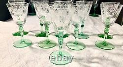 35 Pc Hawkes Cut Crystal Green Stem Water Goblet, Wine/claret, Cordial Champagne