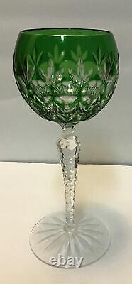 4 AJKA Crystal Cut Clear Hock Wine Goblets Multi blue red green purple