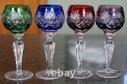 4 Ajka Caroline Red Blue Green Purple Cut To Clear Crystal Cordial Glasses EC