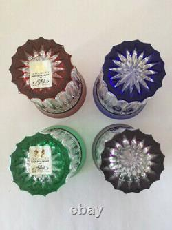 4 Ajka/Design Guild Multi-Colored Cut To Clear Crystal Highball Glasses
