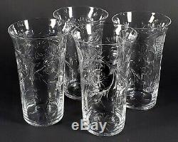 4 Antique American Brilliant ABP'ROCK CRYSTAL' Intalgio Cut Mums Glass Tumblers