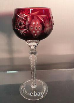 4-BOHEMIAN CUT TO CLEAR CRYSTAL WINE GLASSES, 8.1/4 t