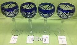 4 Cobalt Blue Cut to Clear Crystal Wine Hocks Glasses AJKA, Lausitzer, Nachtmann