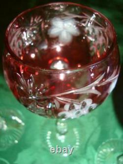 4 (Four) Nachtmann Traube Crystal Cut To Clear Tall Wine Hock Goblet Stemware