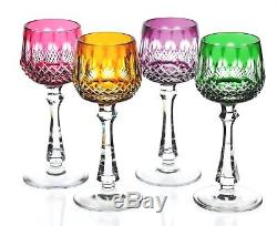 4 German Multi Color Cut To Clear Crystal Cordials Liqueur Goblets 5