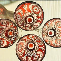 4 Ruby Red Cut To Clear Bell Shaped Leaded Crystal Wine Water Goblets 5 7/8