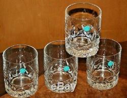 4 Tiffany & Co. Rock Cut Crystal Glasses Old Fashion / Rocks 8 oz