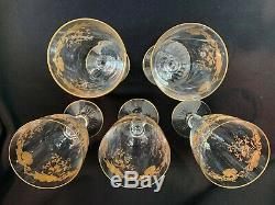 5 St Louis Cut Crystal Massenet Clear Gold Encrusted Water Goblets 6 5/8