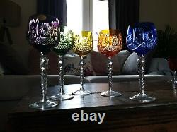 5 Vintage Bohemian Polish Cut to Clear Lead Crystal Wine Hock Glasses exquisite