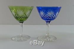 5 x ANTIQUE VICTORIAN CUT TO CLEAR CRYSTAL SHERBET / CHAMPAGNE COUPE GLASSES