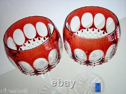 6 AJKA Corlis RUBY RED cased cut to clear Crystal 8 BALLOON Wine GOBLETS