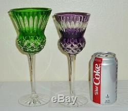 6 AJKA EDINBURGH Thistle Cut to Clear Multi-color Crystal WINE GOBLETS Glasses