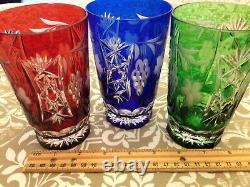 6 AJKA Marsala Multi-Color Crystal Cut to Clear Highball Water Glasses Mint Con