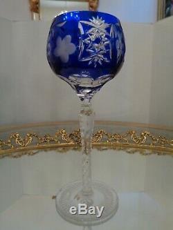 6 Ajka Marsala Blue Cut To Clear Crystal Wine Goblet Glass 8 1/4 Tall