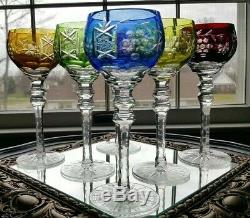 6 Ajka Marsala Crystal Cut To Clear Multicolored Wine Hock Goblets Authentic
