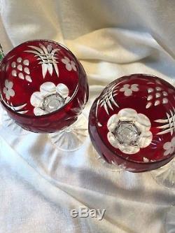 6 Ajka Martisa Cased Cut To Clear Crystal Wine Glass Hocks