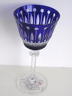 6 Ajka Xenia King Louis Cobalt Blue Cased Cut To Clear Crystal 8 Wine Goblets