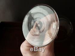 6 Antique Victorian Cut Crystal Hollow Stem Champagne Glasses, h12,8cm