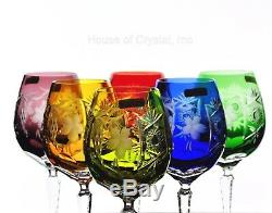 6 Nachtmann Traube Multi Colored Cut to Clear Crystal Wine Balloons New Signed