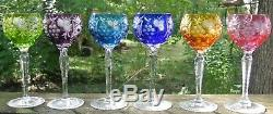 6 Nachtmann Traube Wine Glasses Multi- Color Cut to Clear Cased Crystal 6-7/8