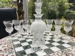 6 RARE VINTAGE SIGNED CORDIAL GLASSES EDINBURGH CRYSTAL THISTLE CUT Engraved 1ST