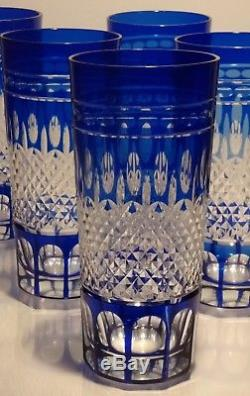 6 Rare Crystal Waterford Ajkaclarendon Cut Tom Collins Highball Glasses Cobalt