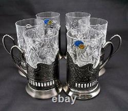 6 Russian CUT Crystal Drinking Tea Podstakannik Glasses with metal Glass Holders