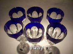 6 Saint Louis Crystal Chambord Cobalt Hock Goblets 9 Mint Cond. Orig. Label